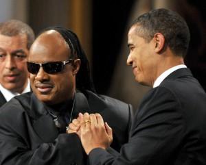 President Barack Obama with Stevie Wonder